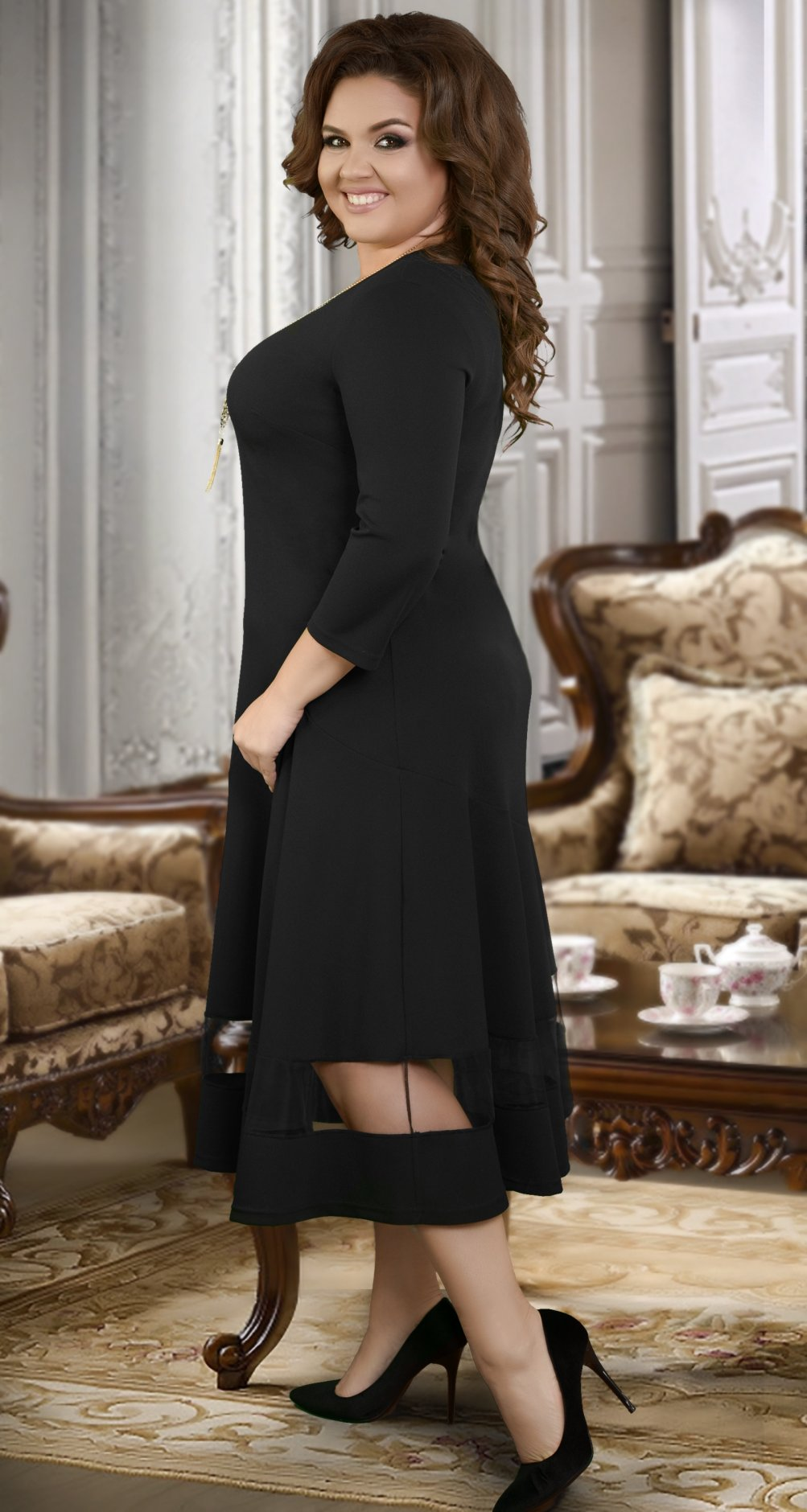 f366a1c1a425cb7 Длинное платье с асимметричными линиями - Платье норма 42-48 ...