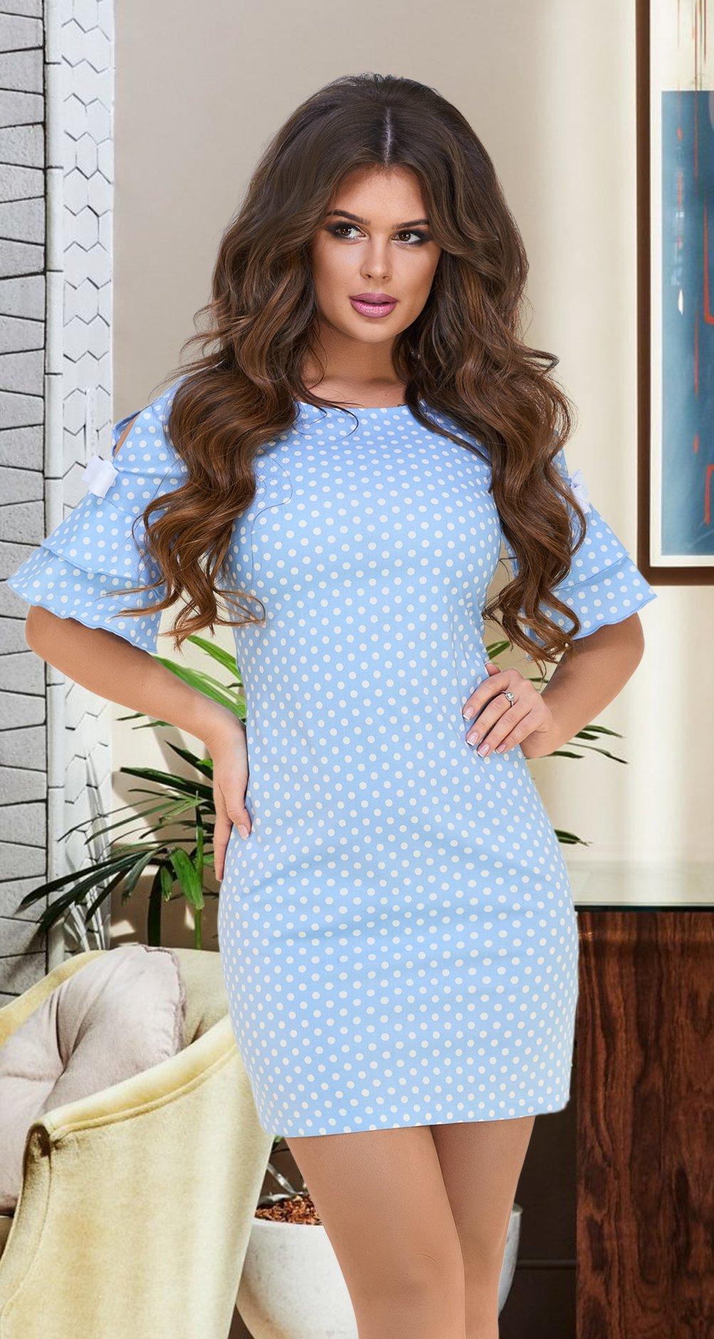 e936c9d7b906401 Лёгкое летнее платье в горошек № 36103,голубое - Платье норма 42-48 ...