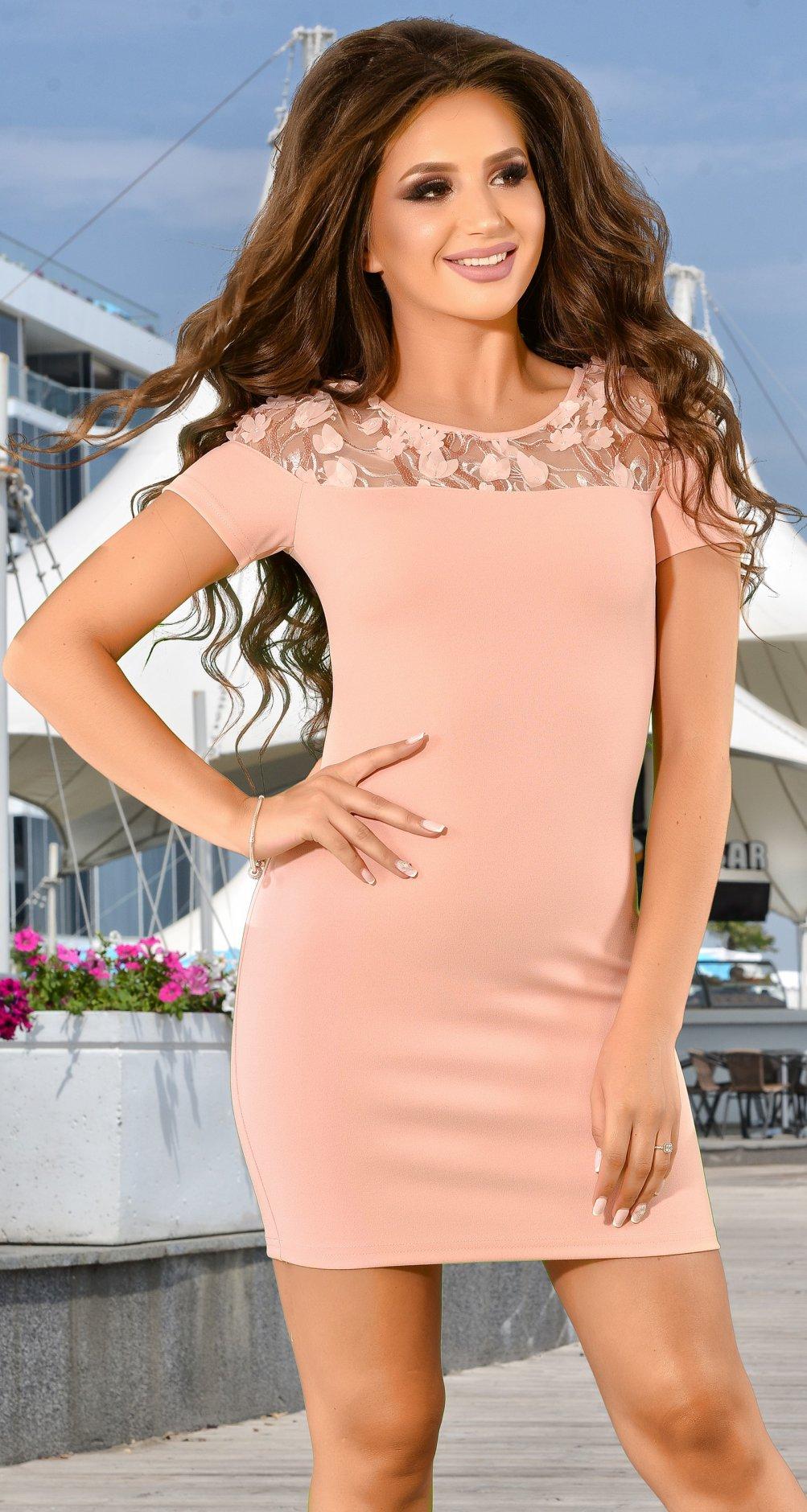 a5a57eb4704 Модное коктейльное платье цвета пудра - Платье норма 42-48 - Модные  вечерние платья  купить недорого у производителя в розницу