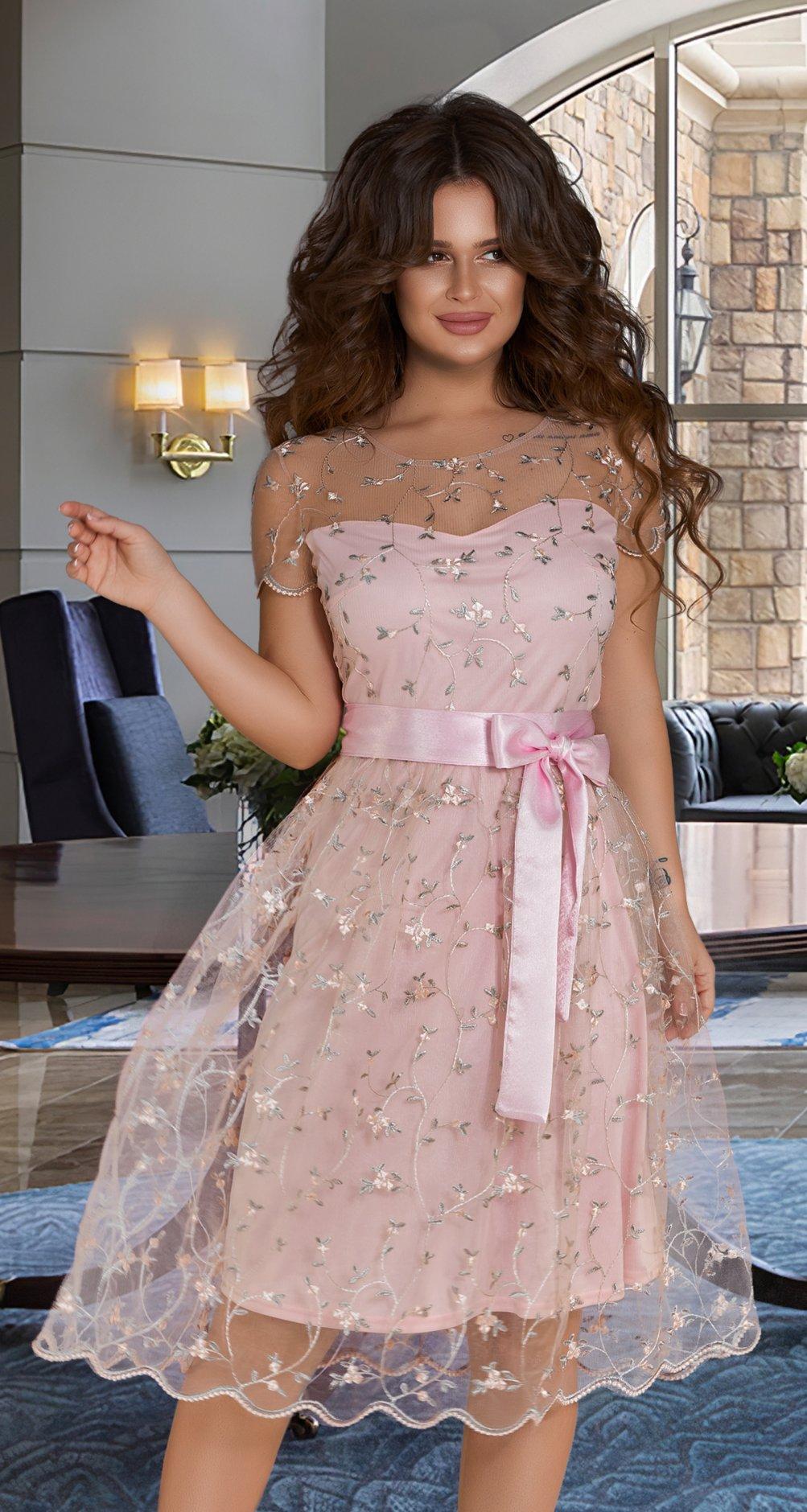 0460eb6294e9a Нарядное платье с вышивкой № 38383,золотисто-бежевое - Платье норма ...
